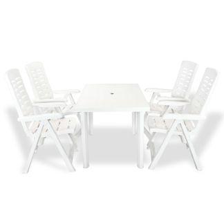 vidaXL Lauko valg. baldų komplektas, 5d., baltos spalvos, plastikas