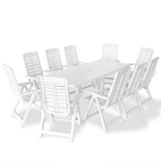 vidaXL Lauko valgomojo baldų komplektas, 11d., baltos sp., plastikas