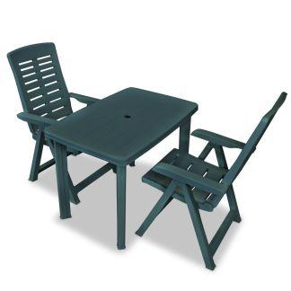 vidaXL Bistro baldų komplektas, 3d., žalias, plastikas