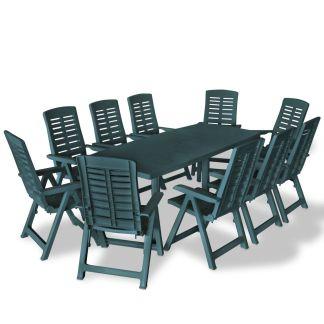 vidaXL Lauko valgomojo baldų komplektas, 11d., žalios sp., plastikas