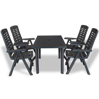 vidaXL Lauko valg. baldų komplektas, 5d., antracito sp., plastikas