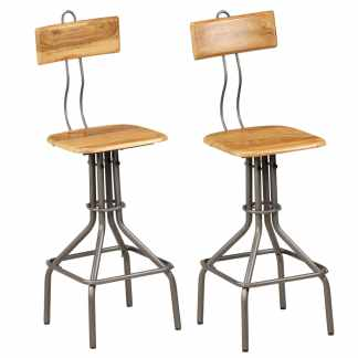 vidaXL Baro kėdės, 2vnt., 41x51x102cm, perd. tikmedžio med. masyvas
