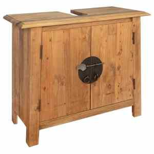 vidaXL Vonios spintelė, masyvi perdirbta pušies mediena, 70x32x63 cm