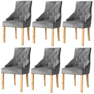 vidaXL Valgomojo kėdės, 6vnt., ąžuolo mediena ir sidabrinis aksomas