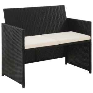 vidaXL Dvivietė sodo sofa su pagalvėlėmis, pilkos spalvos, poliratanas