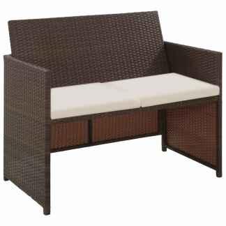 vidaXL Dvivietė sodo sofa su pagalvėlėmis, rudos spalvos, poliratanas