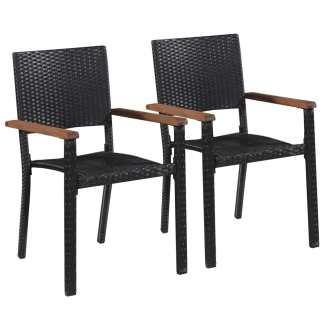 vidaXL Lauko kėdės, 2 vnt., poliratanas, juodos