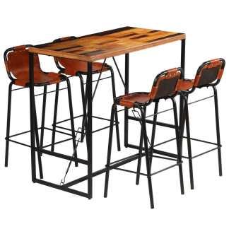 vidaXL Baro baldų komplektas, 5d., perdirbt. med. ir tikra ožkos oda