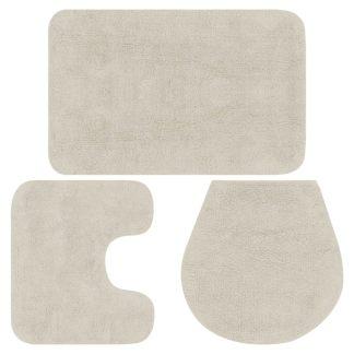 vidaXL Vonios kilimėlių rinkinys, 2d., baltos spalvos, audinys