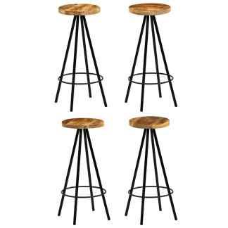 vidaXL Baro kėdės, 4vnt., masyvi mango mediena, 30x30x76cm