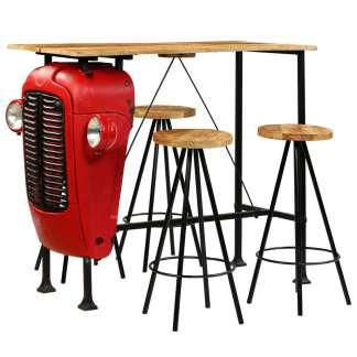 vidaXL Baro baldų komplektas, 5d., mango med. masyvas, 120x60x107cm