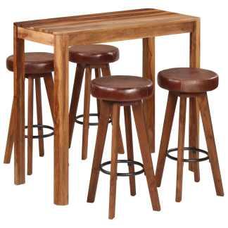 vidaXL Baro baldų kompl., 5d., 115x56x107cm, rausv. dalberg. med. mas.
