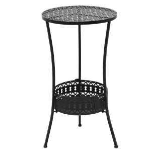 vidaXL Bistro staliukas, vint. stil., apvalus, metalas, 40x70cm, juod.