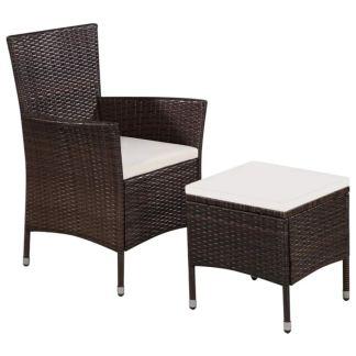 vidaXL Lauko kėdė ir taburetė su pagalvėlėmis, poliratanas, ruda