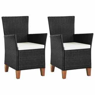 vidaXL Lauko kėdės su pagalvėlėmis, 2 vnt., poliratanas, juodos sp.