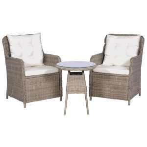 vidaXL Bistro baldų kompl. su pag. ir pagalvėmis, 3d., rudas, polirat.