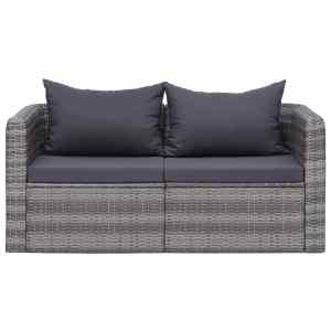 Kampinės sodo sofos, 2 vnt., pilkos, poliratanas