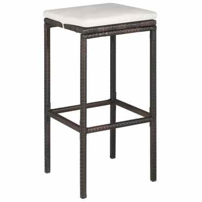 Bistro baldų komplektas su pagalvėmis, 3d., rudas, polirat.