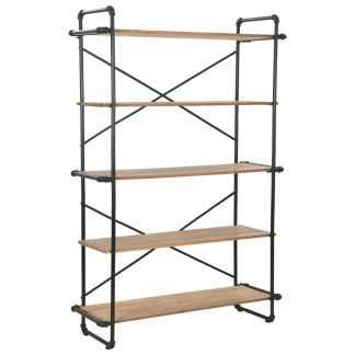 vidaXL Knygų lentyna, eglės mediena ir plienas, 120x42x180cm