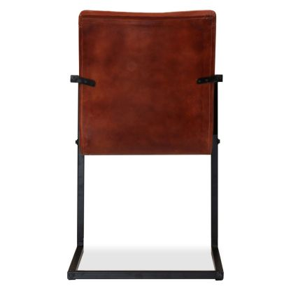 Valgomojo kėdės, 6vnt., tikra oda, ruda spalva