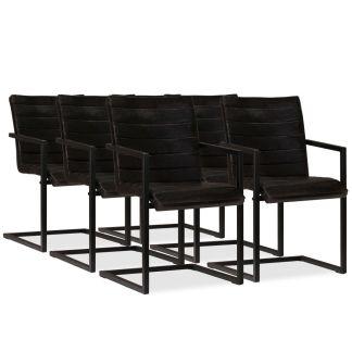vidaXL Valgomojo kėdės, 6vnt., tikra oda, antracito spalva