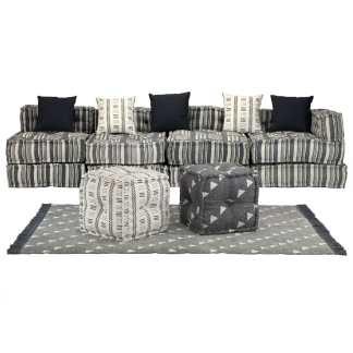 vidaXL Modulinės sofos kompl., 16d., audin., dryžuot.,