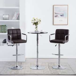 vidaXL Baro kėdės su porankiais, 2vnt., dirbtinė oda, rudos
