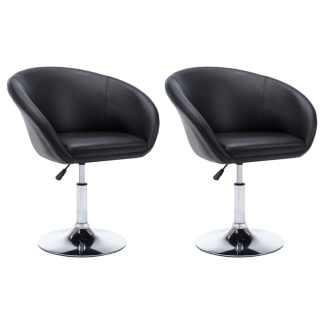 vidaXL Besisuk. valg. kėdės, 2vnt., dirbt. oda, 67,5×58,5x87cm, juod.