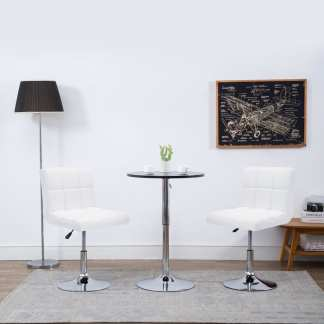 vidaXL Besisuk. valgom. kėdės, 2vnt., dirbt. oda, 50x43x85cm, baltos