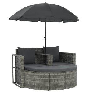 vidaXL Dvivietė sodo sofa su pagalv. ir skėčiu, rudos sp., poliratanas