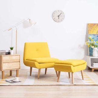 vidaXL Fotelis su kėdute kojoms, audinio apmušalas, geltonas