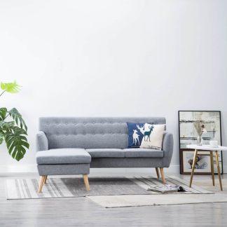 vidaXL L-formos sofa, aud. apmušal., 171,5x138x81,5cm, šviesiai pilka