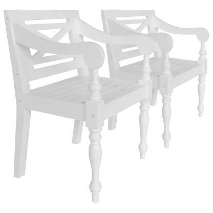 vidaXL Batavia kėdės, 2 vnt., raudonmedžio masyvas, baltos spalvos