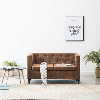 vidaXL Dvivietė Chesterfield sofa, audinio apmuš., ruda, zomš. imit.