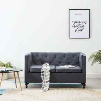 vidaXL Dvivietė Chersterfield sofa, pilka, audinys