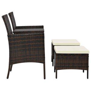 Dvivietė sodo sofa su arbatiniu staliuku, ruda, poliratanas