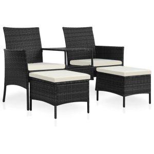 vidaXL Dvivietė sodo sofa su arbatiniu staliuku, juoda, poliratanas