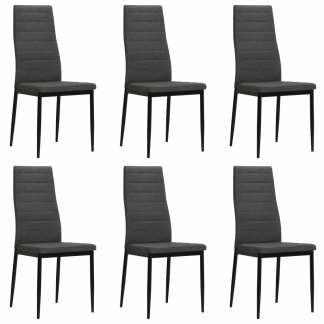 vidaXL Valgomojo kėdės, 6vnt., audinys, tamsiai pilkos