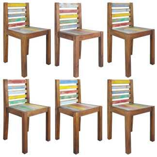 vidaXL Valgomojo kėdės, 6vnt., perdirbta valties mediena, 45x45x85cm