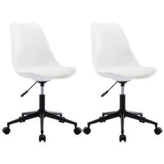 vidaXL Besisukančios valgomojo kėdės, 2vnt., baltos, dirbtinė oda