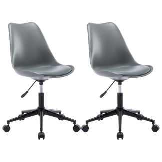 vidaXL Besisukančios valgomojo kėdės, 2vnt., pilkos, dirbtinė oda