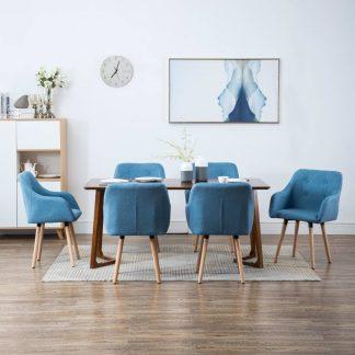 vidaXL Valgomojo kėdės, 6vnt., aud. apmuš., 55x55x84cm, mėlynos