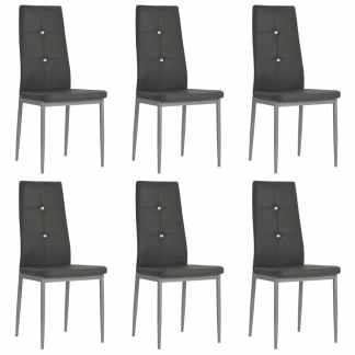 vidaXL Valgomojo kėdės, 6vnt., dirbtinė oda, 43×43,5x96cm, pilkos