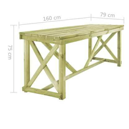Lauko valgomojo stalas, 160x79x75 cm, FSC mediena