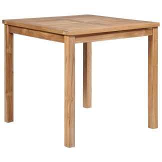 vidaXL Lauko valgomojo stalas, 80x80x77cm, tikmedžio med. masyvas