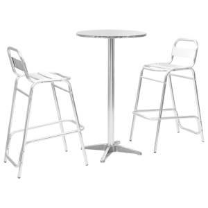 vidaXL Baro baldų kompl. su apvaliu stalu, 3d., sidabr. sp., alium.