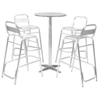 vidaXL Baro baldų kompl. su apvaliu stalu, 5d., sidabr. sp., alium.