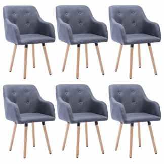 vidaXL Valgomojo kėdės, 6vnt., aud. apmuš., 55x55x84cm, tamsiai pilk.