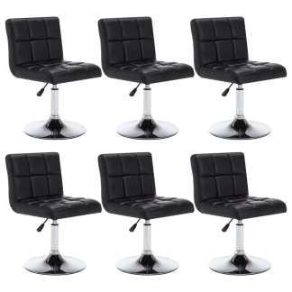 vidaXL Besisuk. valgom. kėdės, 6vnt., dirbt. oda, 50x43x85cm, juodos