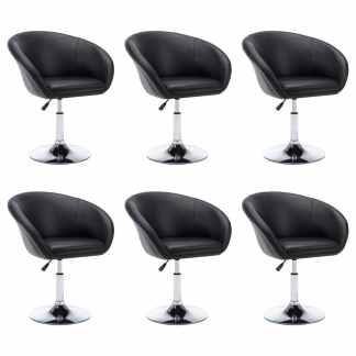 vidaXL Besisuk. valg. kėdės, 6vnt., dirbt. oda, 67,5×58,5x87cm, juod.